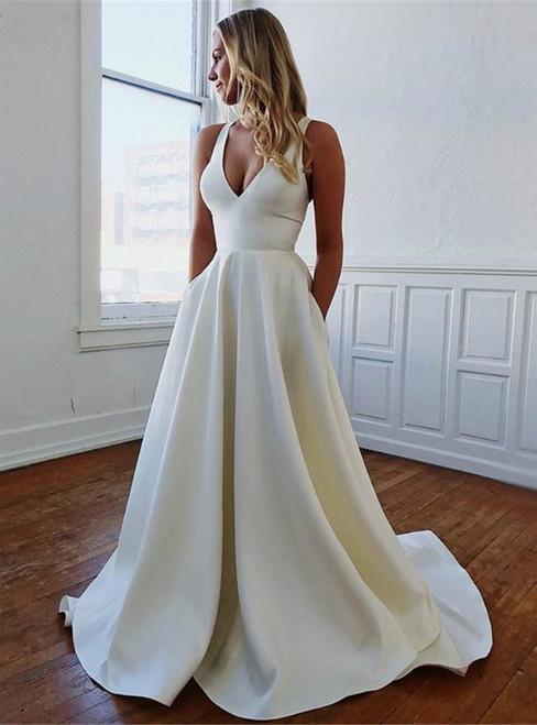 A-Line White Satin V-neck Backless Wedding Dress With Pocket