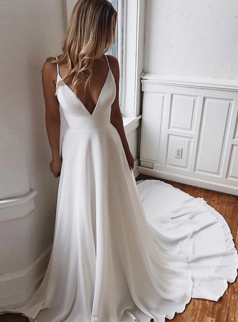 A-Line White Chiffon Spaghetti Straps Lace Backless Wedding Dress