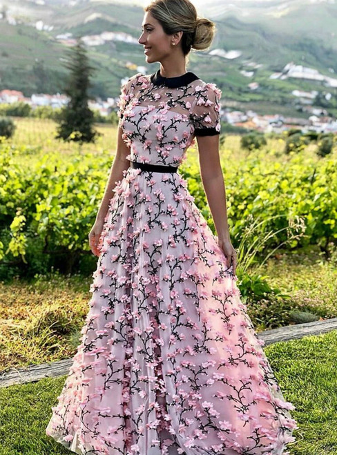 A-Line Pink Tulle 3d Flower Short Sleeve Long Prom Dress