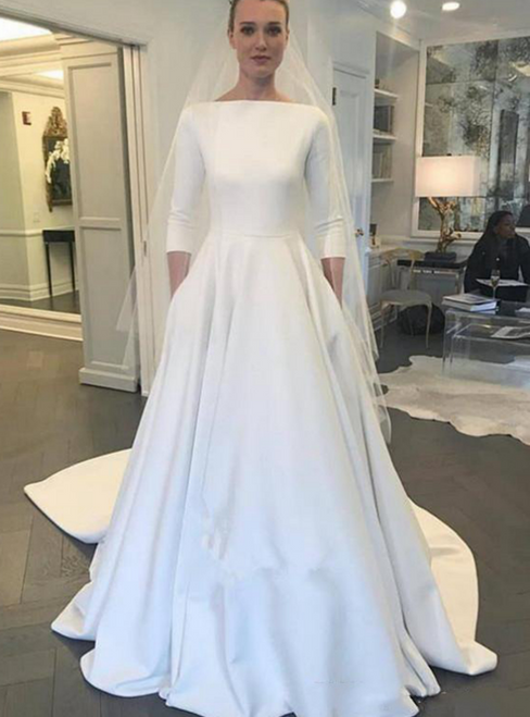 A-Line White Satin 3/4 Sleeve Wedding Dress With Pocket