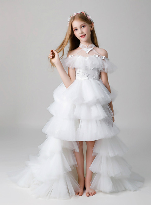 In Stock:Ship in 48 Hours Hi Lo High Neck Butterfly Flower Girl Dress