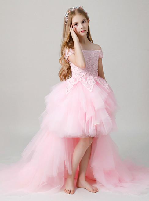 In Stock:Ship in 48 Hours Pink Hi Lo Appliques Off the Shoulder Flower Girl Dress