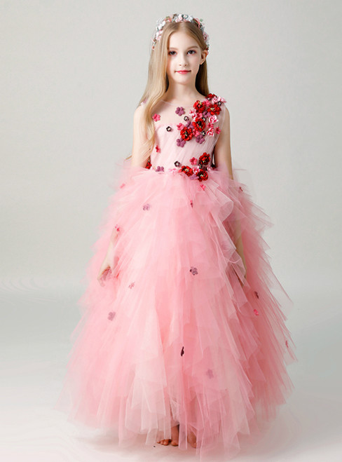 In Stock:Ship in 48 Hours A-Line Pink Tulle Appliques Flower Girl Dress
