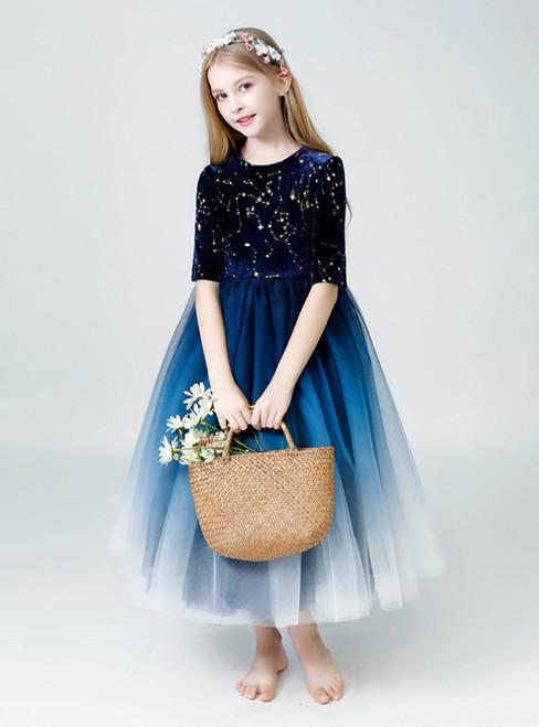In Stock:Ship in 48 Hours Navy Blue Tulle Half Sleeve Girl Dress
