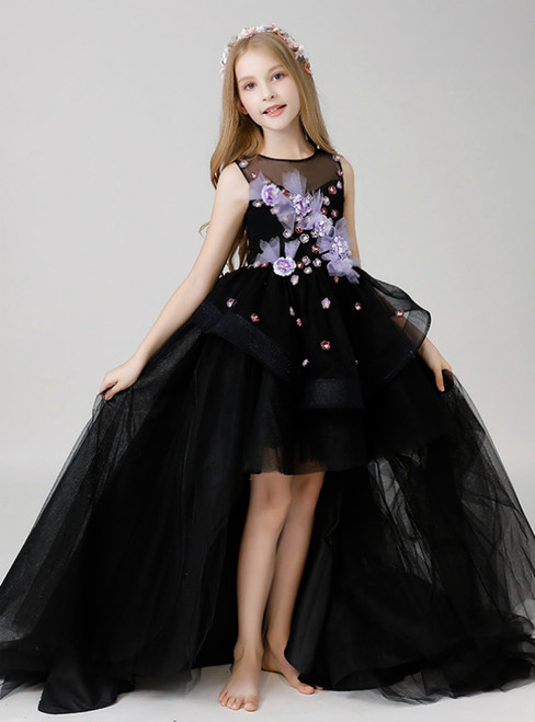 In Stock:Ship in 48 Hours Black Hi Lo Appliques Flower Girl Dress