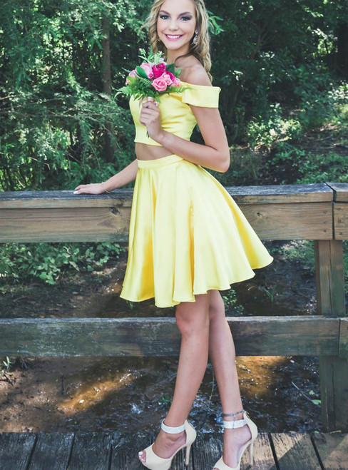A-Line Yellow Satin Off the Sholuder Two Piece Homecoming Dress