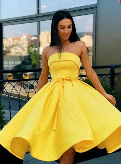 A-Line Yellow Satin Strapless Short Formal Homecoming Dress