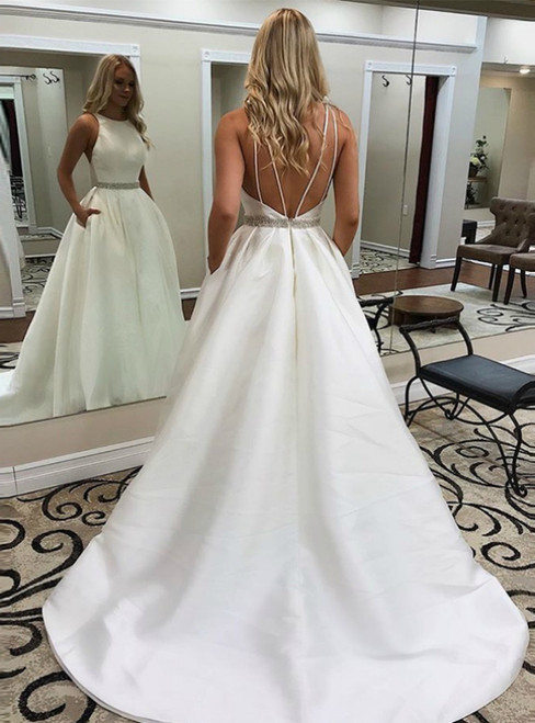 A-Line White Satin Open Back Beading Wedding Dress With Pocket