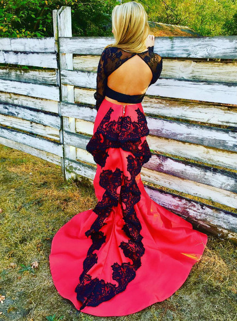 Red Satin Black Lace Mermaid Two Piece Long Sleeve Backless Prom Dress