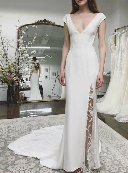 V-neck Beach Wedding Dress Cap Sleeves Appliques Backless Lace Bridal Dresses
