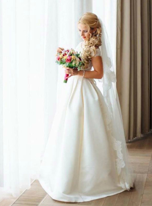 A-line Wedding Dresses Lace Appliques Off The Shoulder Wedding Dress