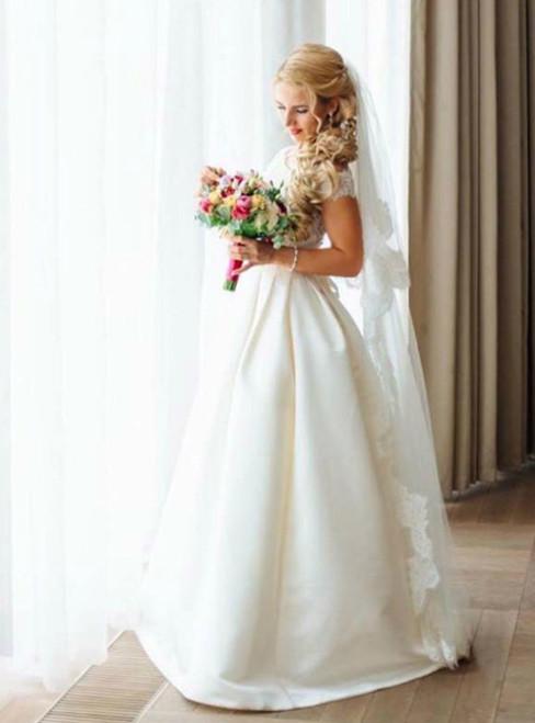 A-line Wedding Dresses Lace Appliques Off The Shoulder Wedding Dress