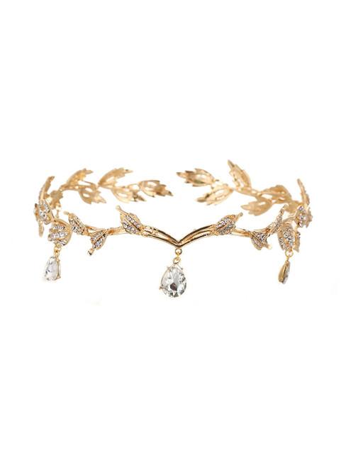 Gold Eyebrows Drop Rhinestone Wedding Tiara Alloy Rhinestone Crown