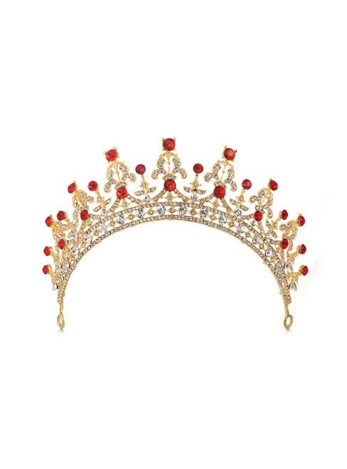 Retro Golden Bride Crystal Crown Luxury Tiara Hair Accessories