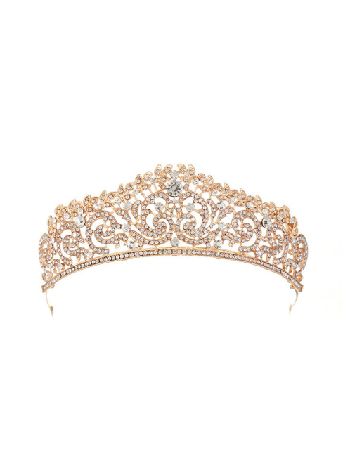 Retro Bride Silver Crystal Crown Luxury Headdress
