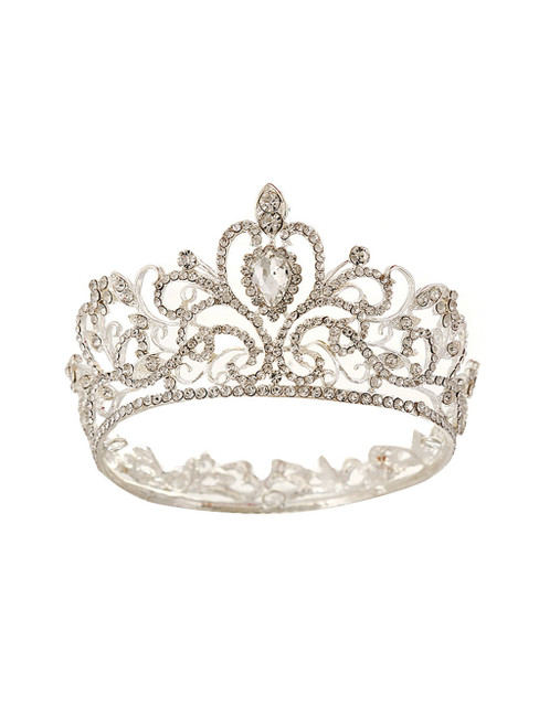 Baroque Silver Round Crown Bride Headdress