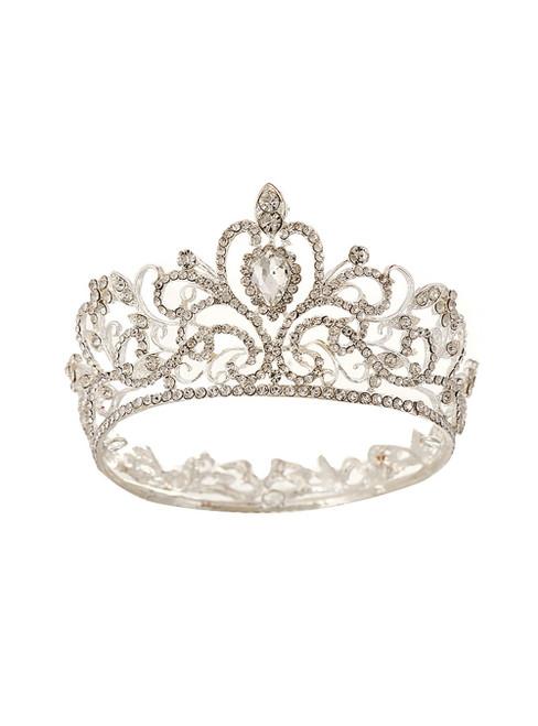 Baroque Silver Round Crown Bride Headdress