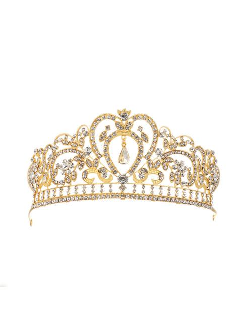 Women Retro Baroque Queen Golden Crown