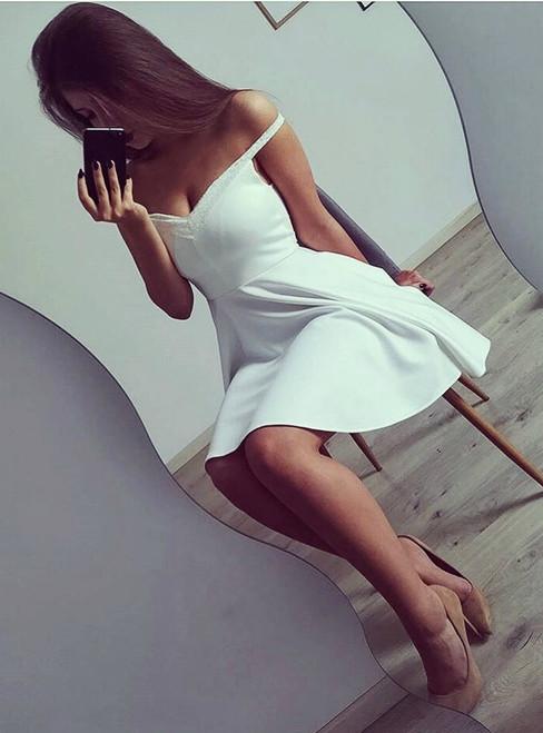 Off-The-Shoulder Short Satin Homecoming Dress