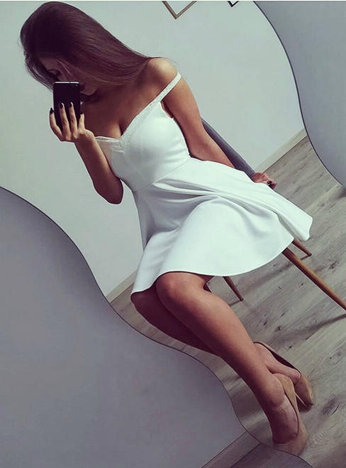 Off-The-Shoulder Short Satin Homecoming Dress