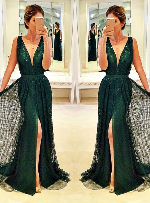 Prom Dresses Evening Dress Prom Dresses Sleeveless V-Neck Front-Split Sexy Sequined