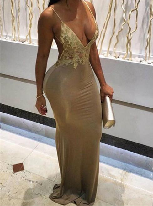 Modest Champagne Spaghetti Straps Appliques Prom Dresses