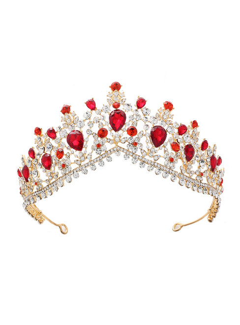 Red Crystal Bride Crown Headdress Jewelry Princess
