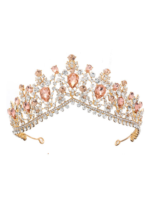 Pink Crystal Bride Crown Headdress Jewelry Princess