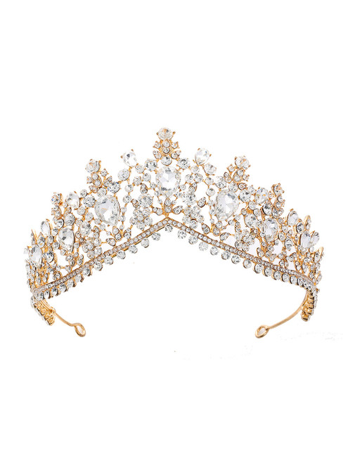 Gold Crystal Bride Crown Headdress Jewelry Princess