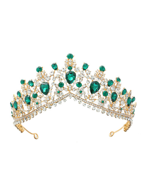 Green Crystal Bride Crown Headdress Jewelry Princess