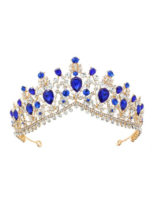 Blue Crystal Bride Crown Headdress Jewelry Princess