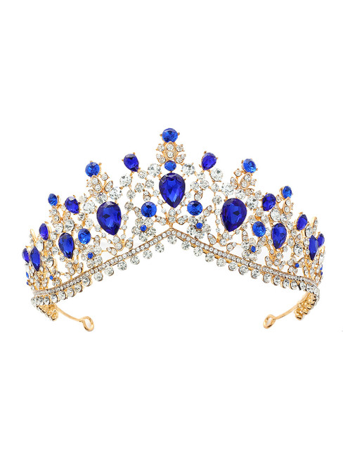 Blue Crystal Bride Crown Headdress Jewelry Princess
