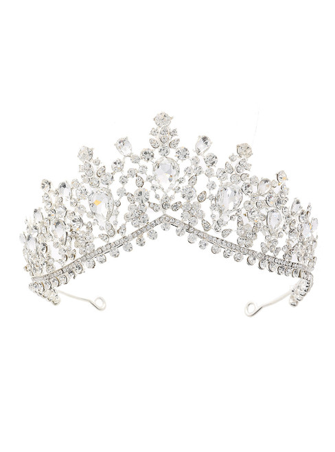 Silver White Crystal Bride Crown Headdress Jewelry Princess