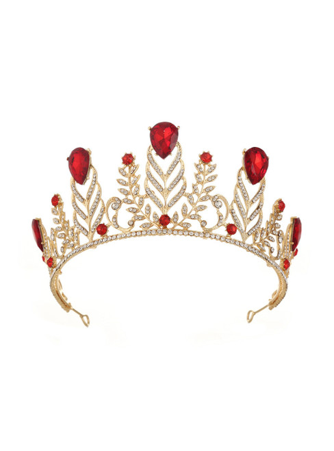 Retro Crown Diamond Wedding Red Baroque Queen