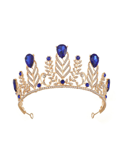 Retro Crown Diamond Wedding Blue Baroque Queen