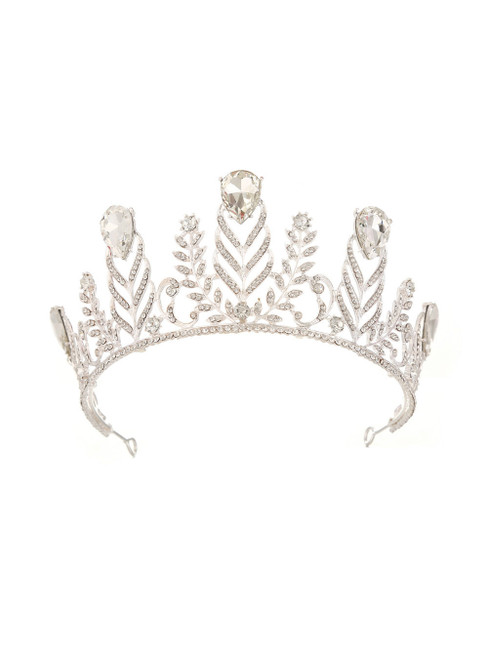 Retro Crown Diamond Wedding Silver White Baroque Queen