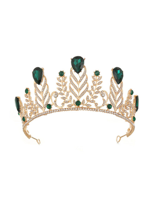 Retro Crown Diamond Wedding Green Baroque Queen