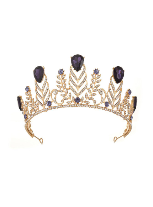 Retro Crown Diamond Wedding Purple Baroque Queen