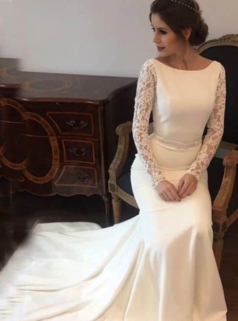 White Mermaid Satin Lace Long Sleeve Backless Wedding Dress