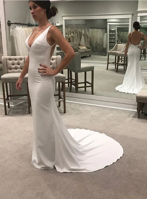 Sexy White Satin Mermaid Backless V-neck Wedding Dress