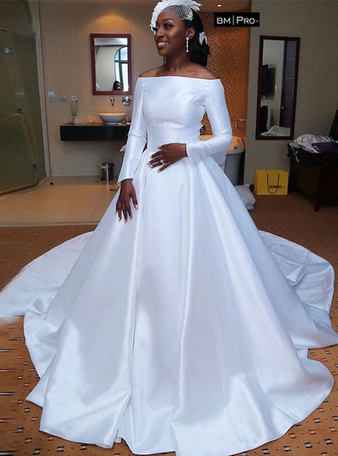 White Ball Gown Satin Off the Shoulder Long Sleeve Wedding Bride Gown