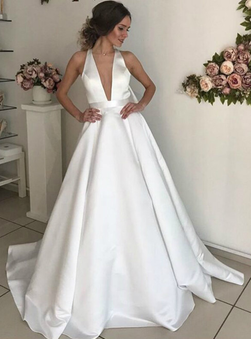 Sexy White Deep V-neck Backless Sleeveless Wedding Dress