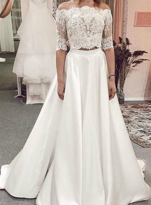 A-Line White Satin Lace Two Piece Half Sleeve Wedding Dress