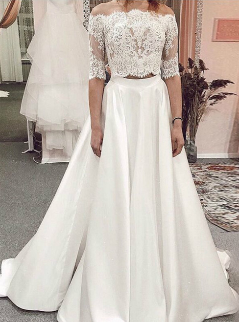 A-Line White Satin Lace Two Piece Half Sleeve Wedding Dress