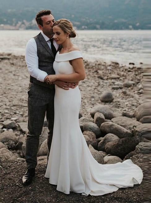 Simple Mermaid Satin Off the Shoulder Bckless Wedding Dress