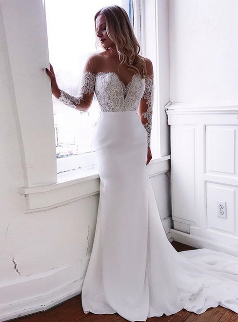 White Mermaid Satin Long Sleeve Appliques Wedding Dress