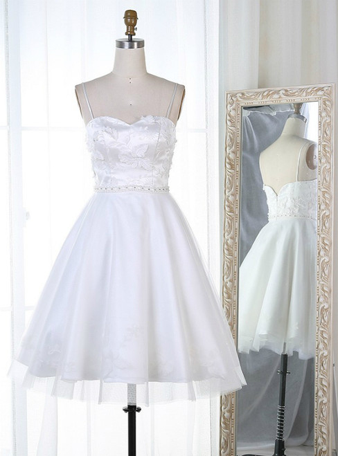 A-Line White Spaghetti Straps Appliques Homecoming Dress