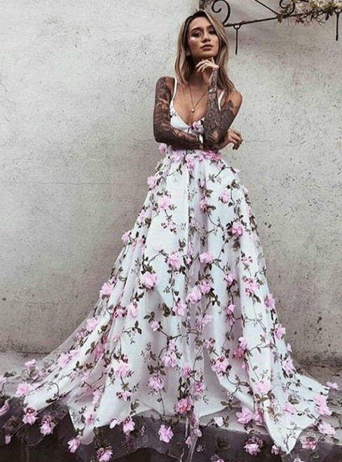 A-Line White Tulle 3D Pink Flower Spaghetti Straps Prom Dress