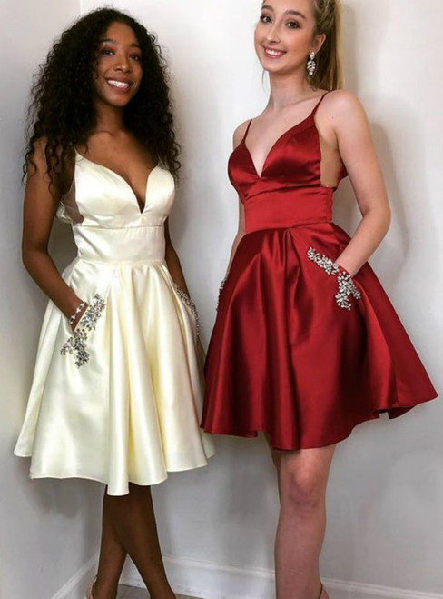 A-Line Burgundy Spaghetti Straps Homecoming Dress With Pocket