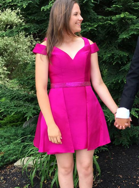 Fuchsia Satin V-neck Backless Short Homecoming Dress